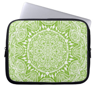 Green Mandala Pattern Laptop Sleeve