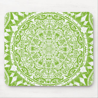 Green Mandala Pattern Mouse Pad