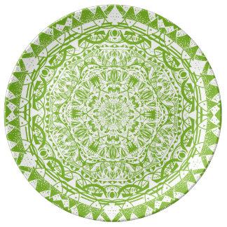Green Mandala Pattern Plate