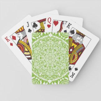 Green Mandala Pattern Playing Cards