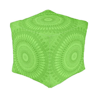 Green mandala pouf