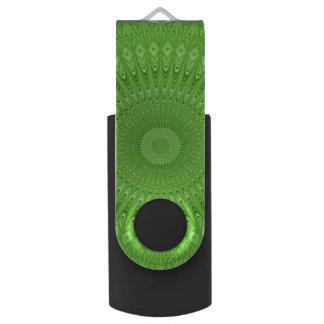 Green mandala swivel USB 3.0 flash drive