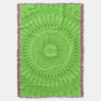 Green mandala throw blanket
