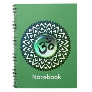 Green Mandala Yoga Om Meditation Notebook