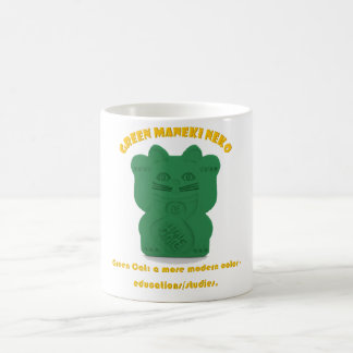 Green Maneki Neko Both Paws Mug