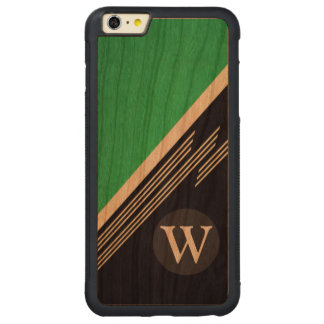 Green Manly Retro Abstract Stripes Custom Monogram Carved Cherry iPhone 6 Plus Bumper Case