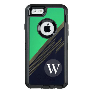 Green Manly Retro Abstract Stripes Custom Monogram OtterBox iPhone 6/6s Case