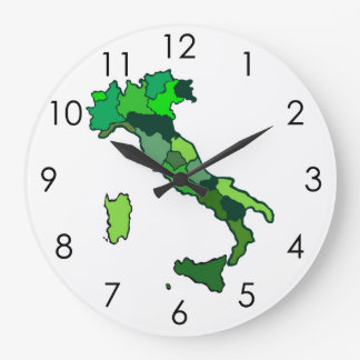 Green Map of Italy Showing Regions Clock