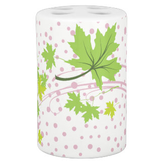 Green maple leaves and pink dots fall modern soap dispenser and toothbrush holder