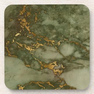 Green Marble Stone Gold Metallic Rock Granite Coaster