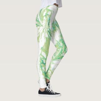 Green Marbled Swirl Leggings