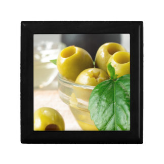 Green marinated olives pitted adorned with green gift box
