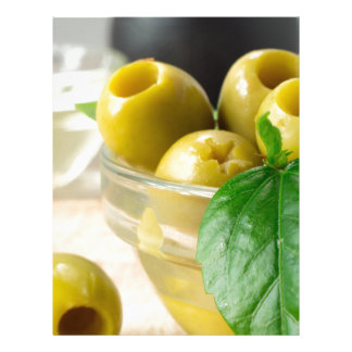 Green marinated olives pitted adorned with green letterhead