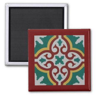 Green Maroon Tile Square Magnet