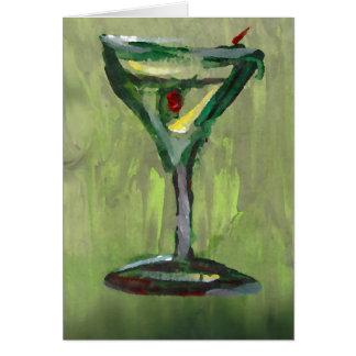 green martini abstract kitchen cocktail bar art card