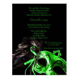 Green Masquerade Ball Quinceanera 15th Birthday Postcard