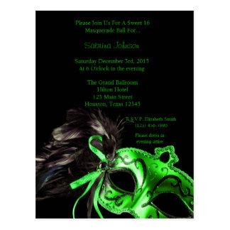 Green Masquerade Ball Sweet Sixteen Birthday Postcard