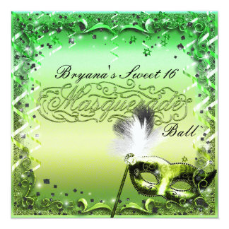 Green Masquerade Mask Elegant Ball Party Card