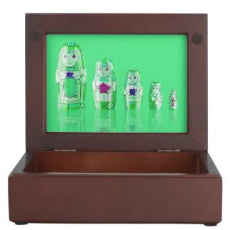 Green Matryoshka Russian Dolls Keepsake Box