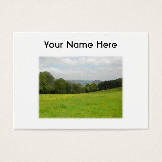 Green meadow. Countryside scenery. Custom Business Card