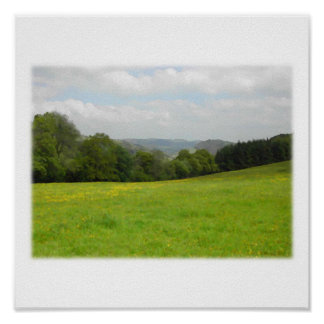 Green meadow. Countryside scenery. Custom Poster