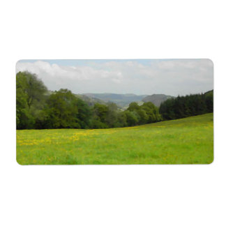 Green meadow. Countryside scenery. Shipping Label