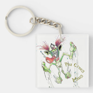 Green Meanie Double Sided Keychain