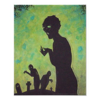 Green Means GO Zombie silhouette Horror Art poster