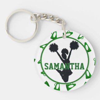 Green Megaphone and Cheerleader Personalized Photo Keychain
