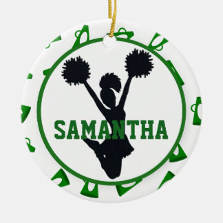 Green Megaphones and Cheerleader Personalized Ceramic Ornament