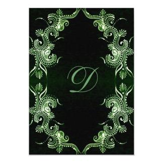 Green Mehndi Bollywood 5x7 Paper Invitation Card