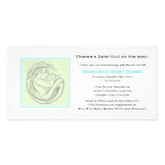 Green Mermaid BB Shower Invite Photo Card Template