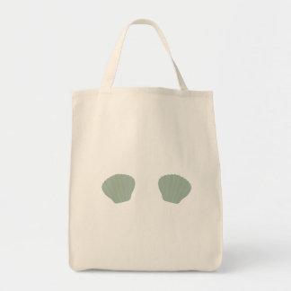 Green Mermaid Bikini Grocery Tote Bag