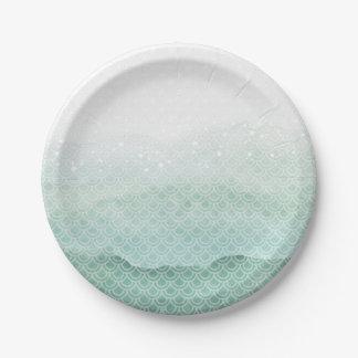 Green Mermaid Birthday Party Paper Plates