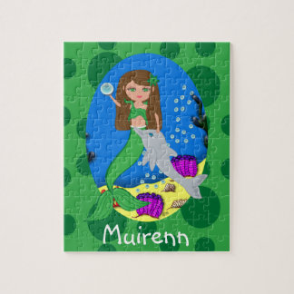Green Mermaid in the Ocean with a Dolphin Jigsaw Puzzle