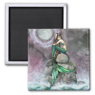 Green Mermaid Magnet by Molly Harrison
