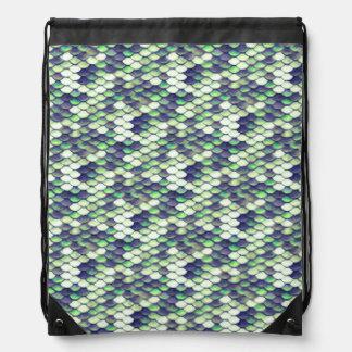 green mermaid skin pattern drawstring bag