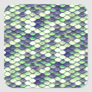 green mermaid skin pattern square sticker