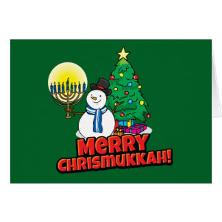 Green Merry Chrismukkah Jewish and Christmas Greeting Card