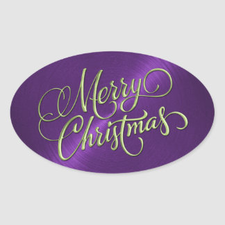 Green Merry Christmas Purple Embossed Look Oval Sticker