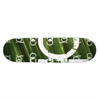 Green metal lights abstract text custom skate board