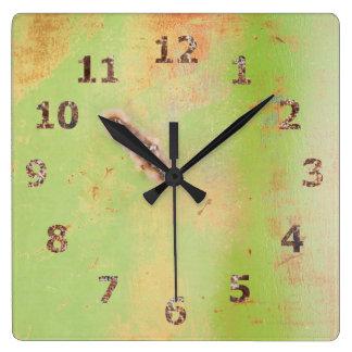 Green Metal Weld Grunge Photograph Square Wall Clock