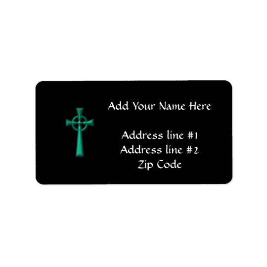 Green Metallic Celtic Cross Label
