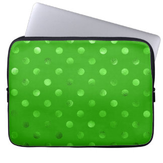 Green Metallic Faux Foil Polka Dot Background Laptop Sleeve
