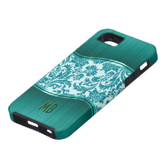 Green Metallic Look &  Floral Damasks iPhone 5 Cases