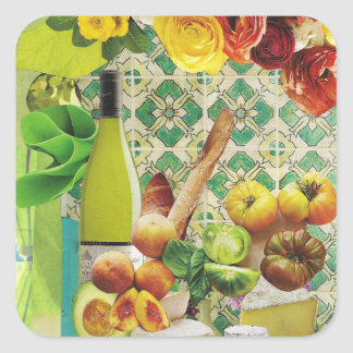 Green Mexican Tile Square Sticker