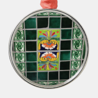 Green Mexican Tile work Silver-Colored Round Ornament