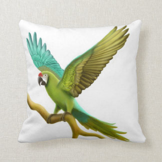 Green Military Macaw Parrot Pillow