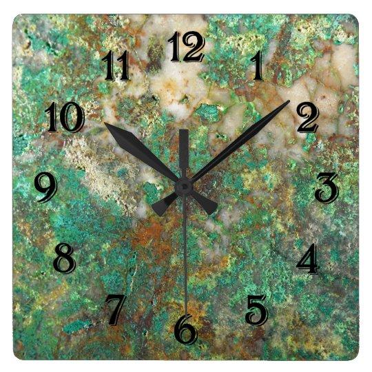 Green Mineral Stone Image Clocks