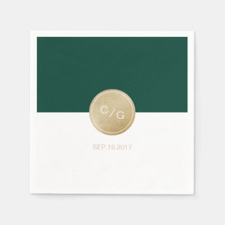 Green minimalist modern wedding monogram paper napkins